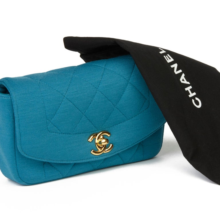 2015 Chanel Teal Jersey Fabric Mini Reissue Diana Classic Single Flap Bag For Sale 7