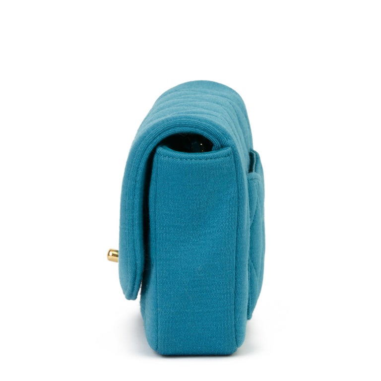 2015 Chanel Teal Jersey Fabric Mini Reissue Diana Classic Single Flap Bag In Excellent Condition For Sale In Bishop's Stortford, Hertfordshire