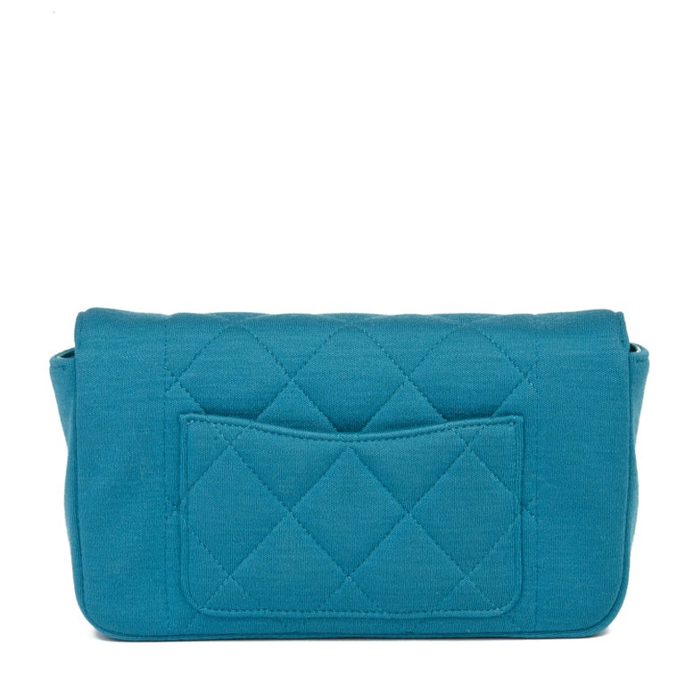 Women's 2015 Chanel Teal Jersey Fabric Mini Reissue Diana Classic Single Flap Bag For Sale