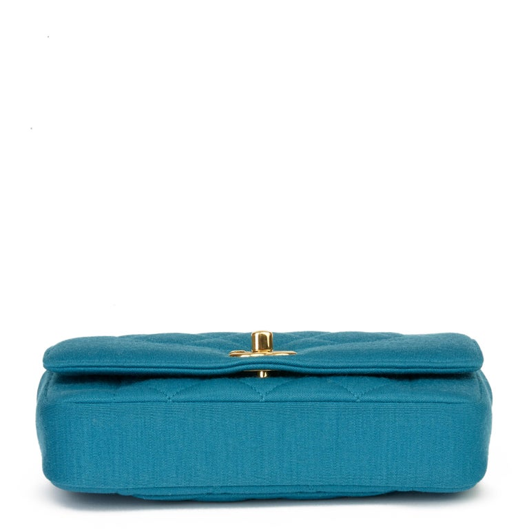 2015 Chanel Teal Jersey Fabric Mini Reissue Diana Classic Single Flap Bag For Sale 1