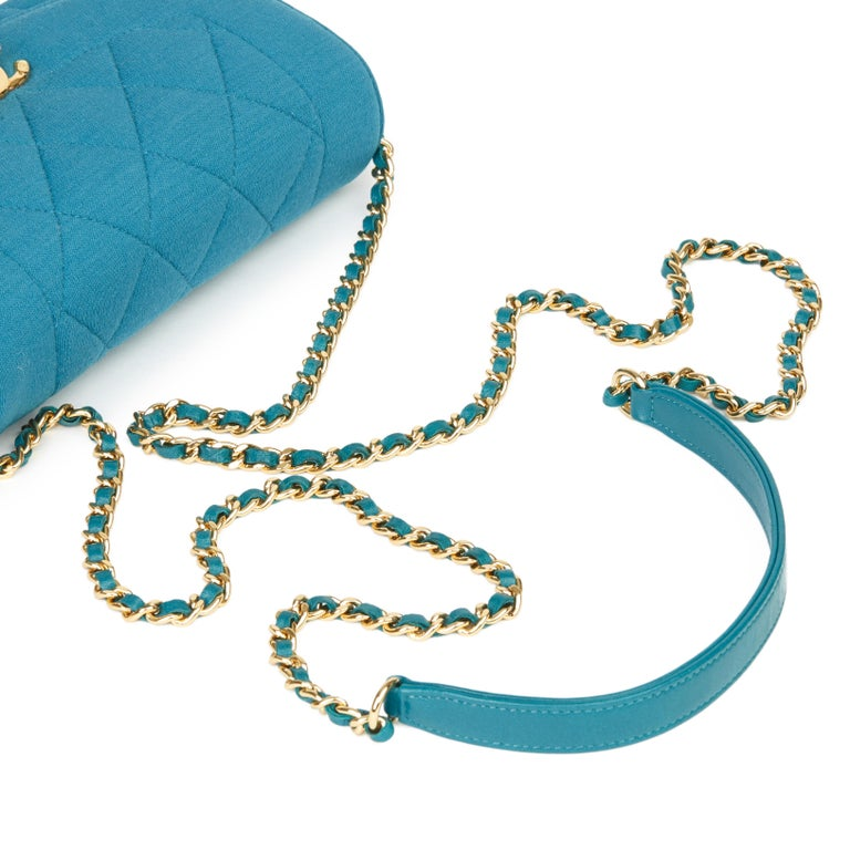 2015 Chanel Teal Jersey Fabric Mini Reissue Diana Classic Single Flap Bag For Sale 3
