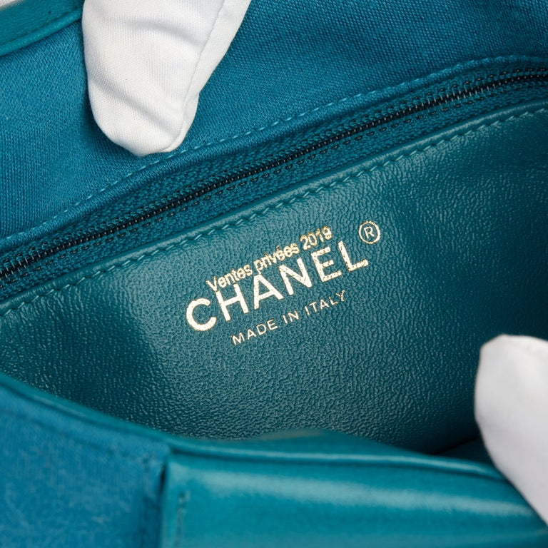 2015 Chanel Teal Jersey Fabric Mini Reissue Diana Classic Single Flap Bag For Sale 4