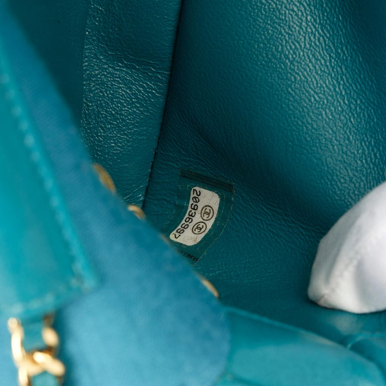2015 Chanel Teal Jersey Fabric Mini Reissue Diana Classic Single Flap Bag For Sale 5