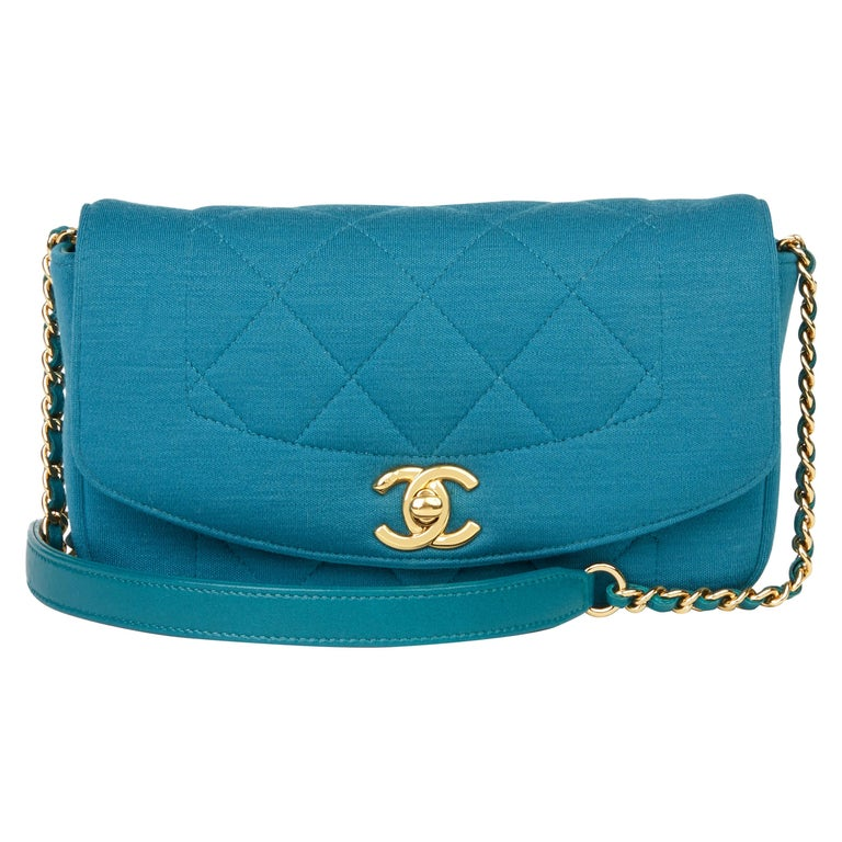 2015 Chanel Teal Jersey Fabric Mini Reissue Diana Classic Single Flap Bag For Sale