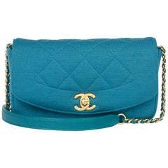 2015 Chanel Teal Quilted Jersey Mini Reissue Diana Classic Single Flap Bag