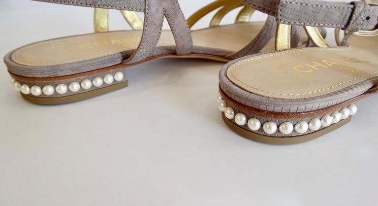 2015 Cruise Chanel Purple Lizard Sandals  For Sale 7