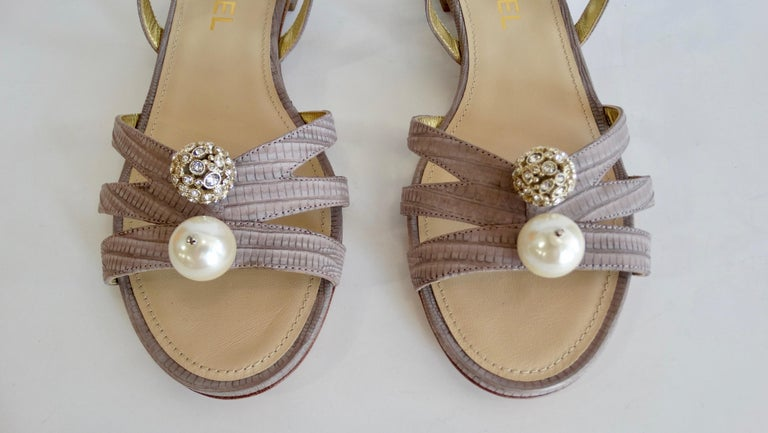 2015 Cruise Chanel Purple Lizard Sandals  For Sale 8