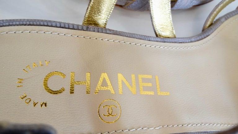 2015 Cruise Chanel Purple Lizard Sandals  For Sale 1