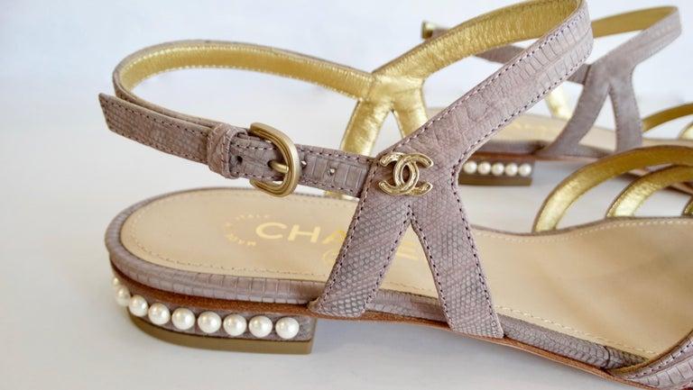 2015 Cruise Chanel Purple Lizard Sandals  For Sale 5
