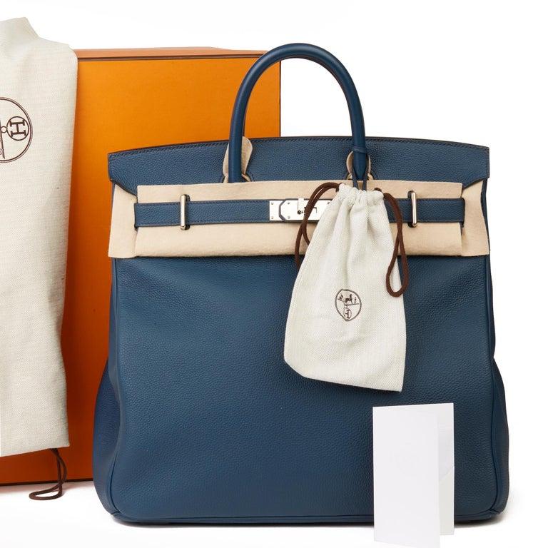 2015 Hermès Bleu de Prusse Togo Leather Birkin 40cm HAC For Sale 7