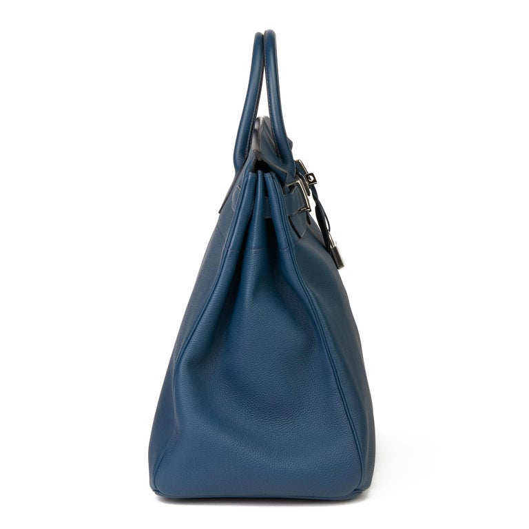 2015 Hermès Bleu de Prusse Togo Leather Birkin 40cm HAC In Excellent Condition For Sale In Bishop's Stortford, Hertfordshire