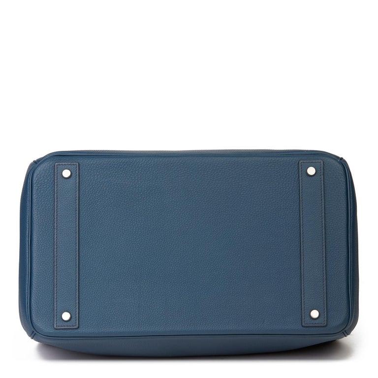 2015 Hermès Bleu de Prusse Togo Leather Birkin 40cm HAC For Sale 2