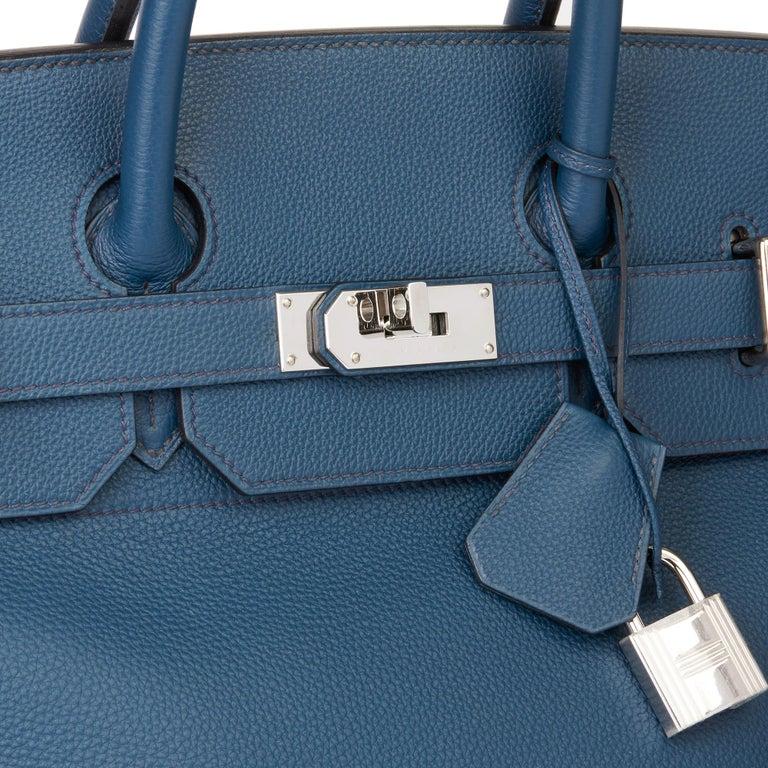 2015 Hermès Bleu de Prusse Togo Leather Birkin 40cm HAC For Sale 3
