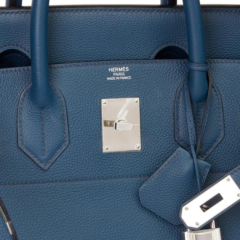 2015 Hermès Bleu de Prusse Togo Leather Birkin 40cm HAC For Sale 4