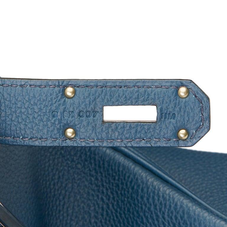 2015 Hermès Bleu de Prusse Togo Leather Birkin 40cm HAC For Sale 5