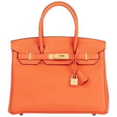 2015 Hermes Orange Poppy Clemence Leather Birkin 30cm