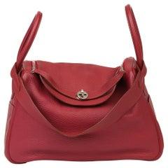 2015 Hermès Rubis Clemence Leather Lindy 34cm