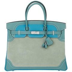 2015 Hermès Turquouise Clemence, Ciel Evercolour & Grizzly Suede Birkin 35cm