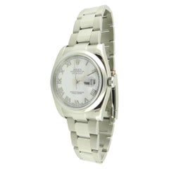 2015 Rolex Men's Datejust 116200 Steel Watch White Roman Dial with Box and Paper