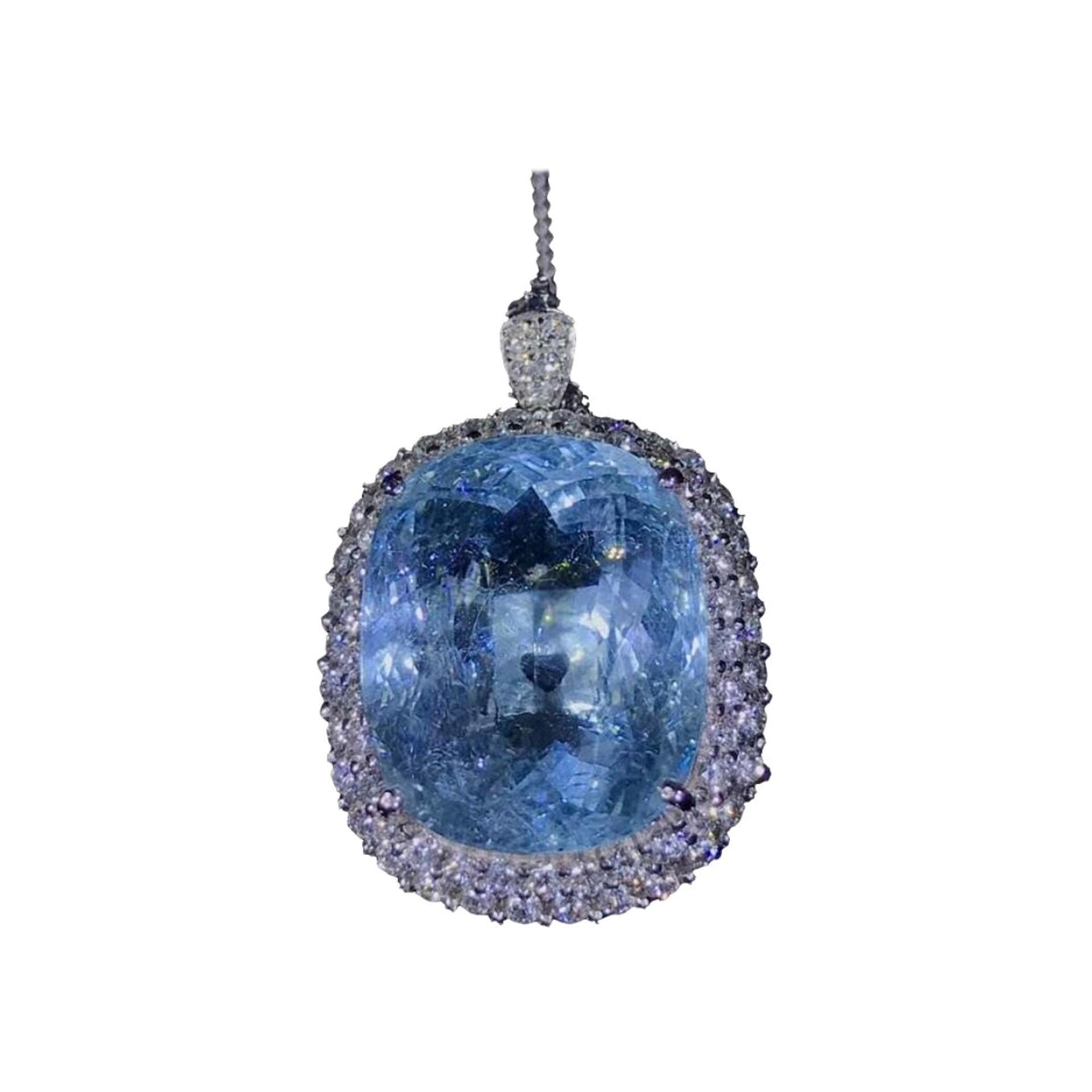 20.15ct Paraiba Tourmaline Diamond Necklace or Ring 18k White Gold