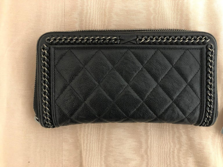2016-17 Limited Edition Black Boy Chanel Long Wallet/Clutch Series 22 For Sale 4