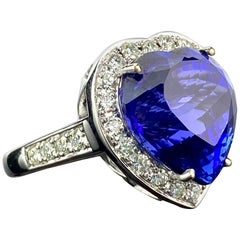 20.16 Carat Heart Shape Tanzanite and Diamond Engagement Ring