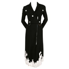 2016 CELINE black stretch wool trench runway coat with lace trim