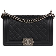 2016 Chanel Black Quilted Lambskin Leather Medium Le Boy