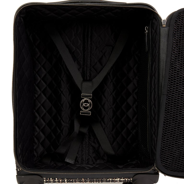 2016 Chanel Black Tweed & Caviar Leather Jacket Trolley Rolling Suitcase For Sale 6