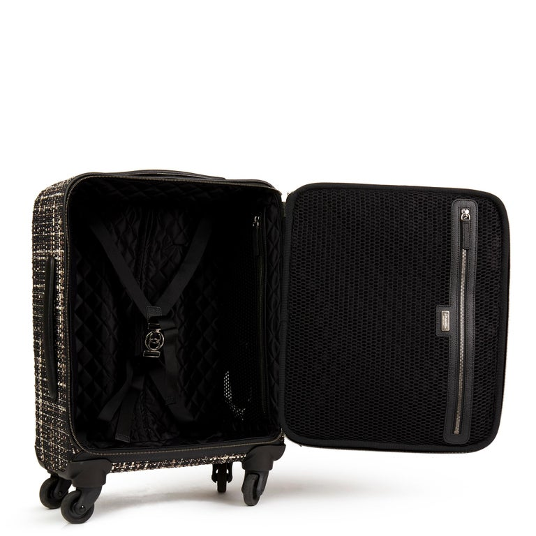 2016 Chanel Black Tweed & Caviar Leather Jacket Trolley Rolling Suitcase For Sale 8