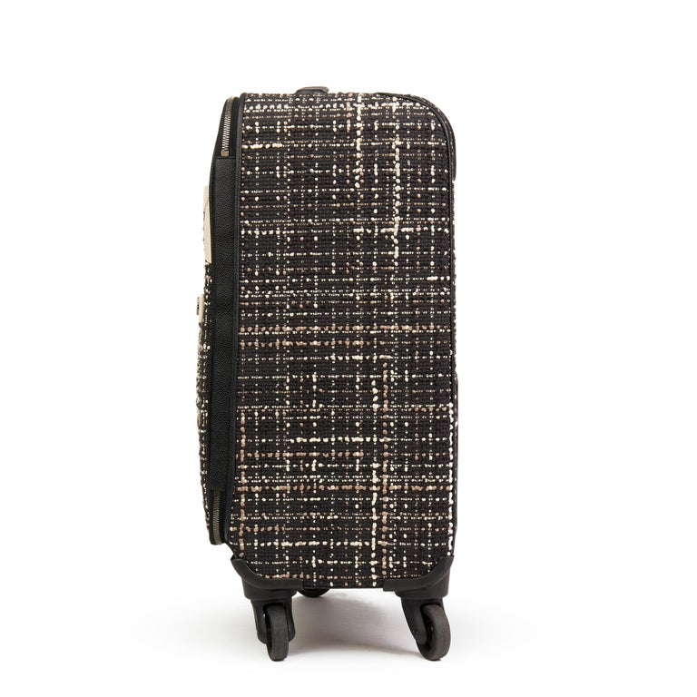 CHANEL Black Tweed & Caviar Leather Jacket Trolley Rolling Suitcase  Reference: HB2593 Serial Number: 22154208 Age (Circa): 2016 Accompanied By: Cover, Authenticity Card, Luggage Tag, Padlock, Keys Authenticity Details: Serial Sticker, Authenticity