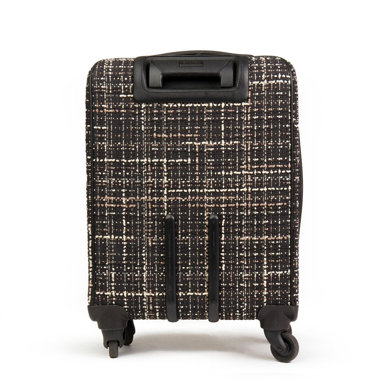 Women's 2016 Chanel Black Tweed & Caviar Leather Jacket Trolley Rolling Suitcase For Sale