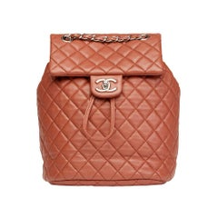 2016 Chanel Brick Brown Quilted Lambskin Small Urban Spirit Backpack