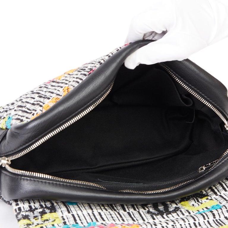 2016 Chanel Multicolour Fantasy Tweed & Black Lambskin Medium Easy Flap Bag For Sale 6