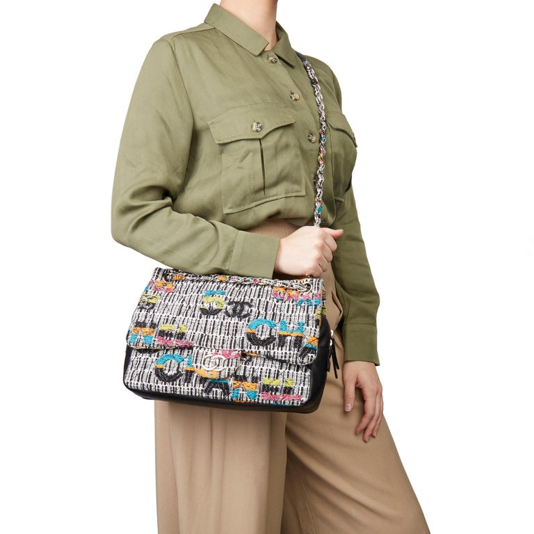 CHANEL Multicolour Fantasy Tweed & Black Lambskin Medium Easy Flap Bag  Xupes Reference: HB3230 Serial Number: 21037018 Age (Circa): 2016 Authenticity Details: Serial Sticker (Made in France) Gender: Ladies Type: Shoulder, Crossbody  Colour: