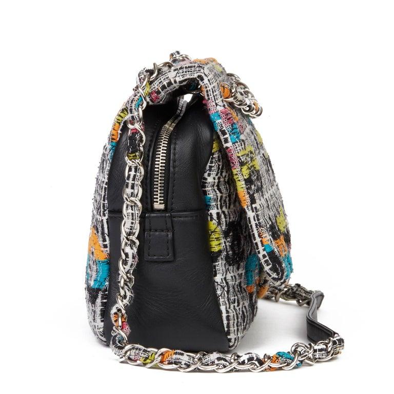 2016 Chanel Multicolour Fantasy Tweed & Black Lambskin Medium Easy Flap Bag In Excellent Condition For Sale In Bishop's Stortford, Hertfordshire