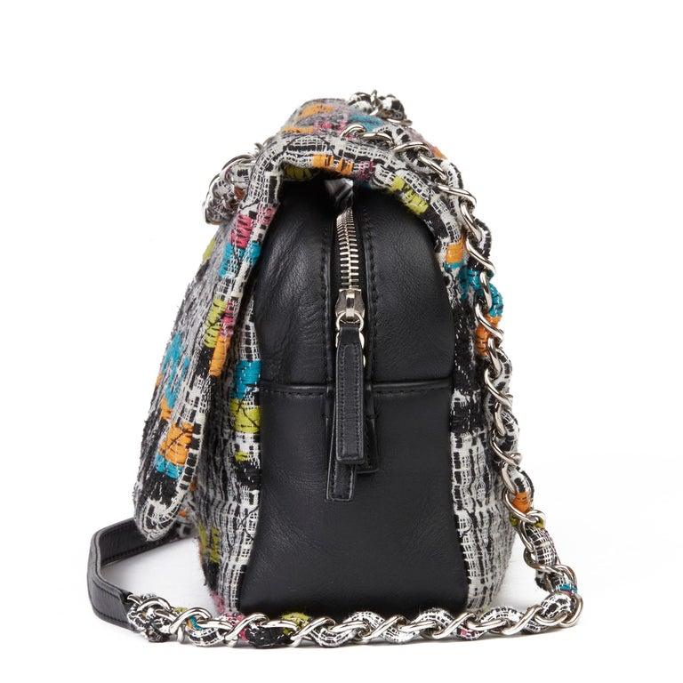 Women's 2016 Chanel Multicolour Fantasy Tweed & Black Lambskin Medium Easy Flap Bag For Sale