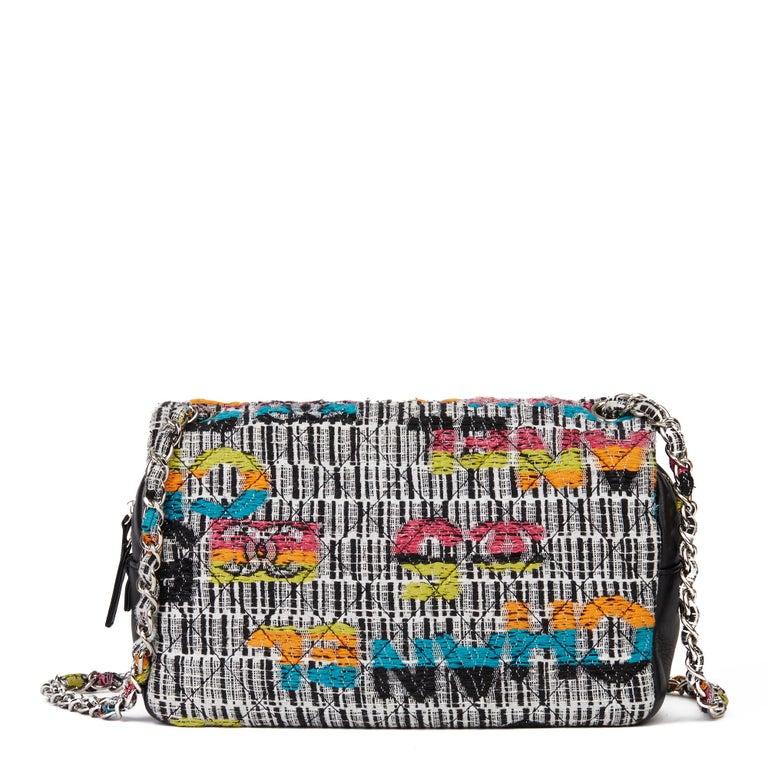 2016 Chanel Multicolour Fantasy Tweed & Black Lambskin Medium Easy Flap Bag For Sale 1