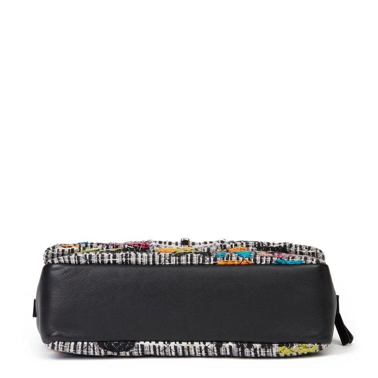 2016 Chanel Multicolour Fantasy Tweed & Black Lambskin Medium Easy Flap Bag For Sale 2