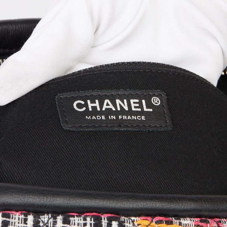 2016 Chanel Multicolour Fantasy Tweed & Black Lambskin Medium Easy Flap Bag For Sale 5