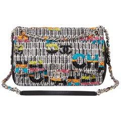 2016 Chanel Multicolour Fantasy Tweed & Black Lambskin Medium Easy Flap Bag