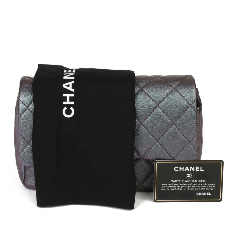 2016 Chanel Iridescent Quilted Calfskin Leather Small Double Carry Flap Bag For Sale 6