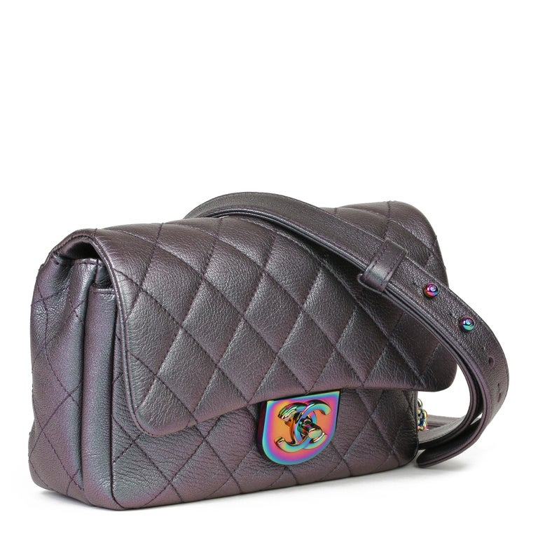 CHANEL Iridescent Quilted Calfskin Leather Small Double Carry Flap Bag  Xupes Reference: HB3914 Serial Number: 21838622 Age (Circa): 2016 Accompanied By: Chanel Dust Bag, Authenticity Card Authenticity Details: Authenticity Card, Serial Sticker