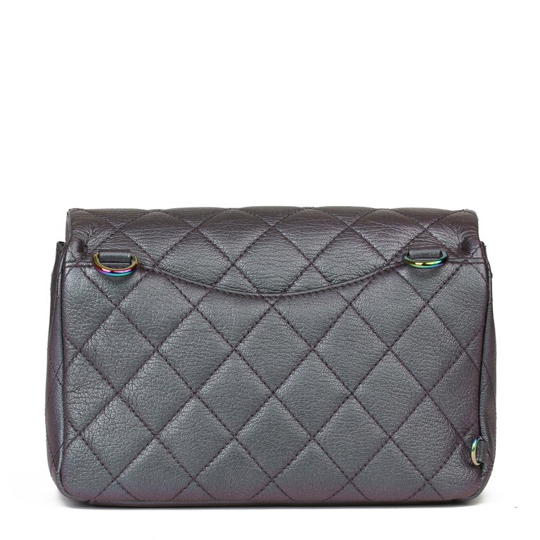 Women's 2016 Chanel Iridescent Quilted Calfskin Leather Small Double Carry Flap Bag For Sale