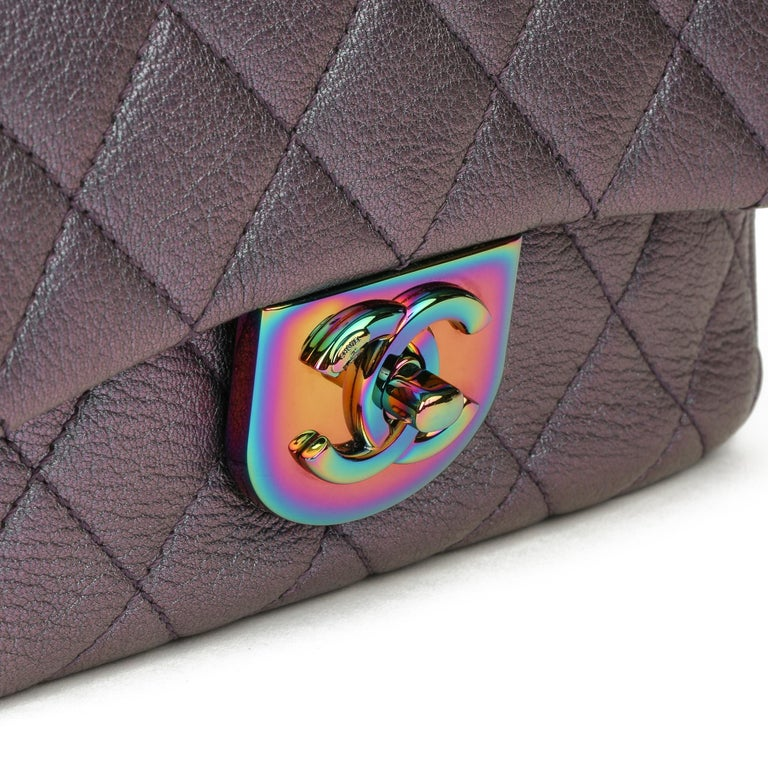 2016 Chanel Iridescent Quilted Calfskin Leather Small Double Carry Flap Bag For Sale 2