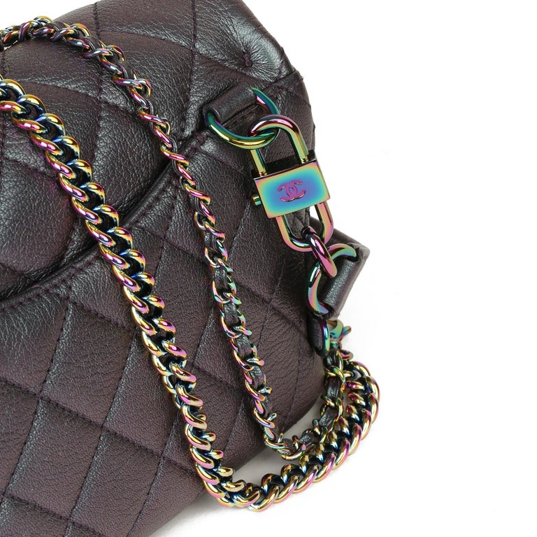 2016 Chanel Iridescent Quilted Calfskin Leather Small Double Carry Flap Bag For Sale 3
