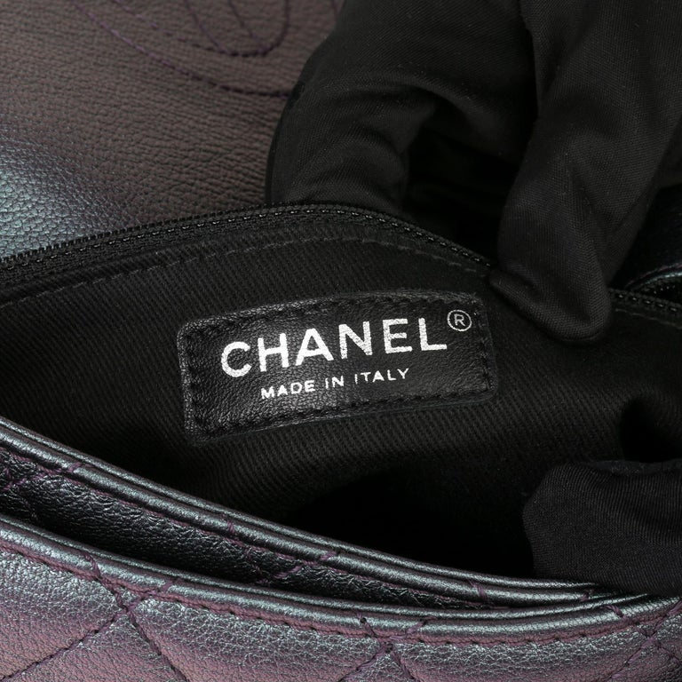 2016 Chanel Iridescent Quilted Calfskin Leather Small Double Carry Flap Bag For Sale 4