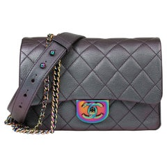 2016 Chanel Iridescent Quilted Calfskin Leather Small Double Carry Flap Bag