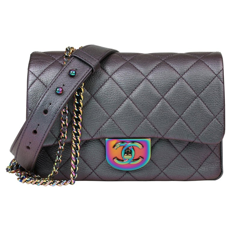 2016 Chanel Iridescent Quilted Calfskin Leather Small Double Carry Flap Bag For Sale
