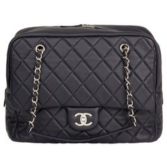2016 Chanel Navy Quilted Calfskin Leather Jumbo Classic Camera Bag